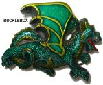 Dragon (green) - Heavy Belt Buckle + display stand
